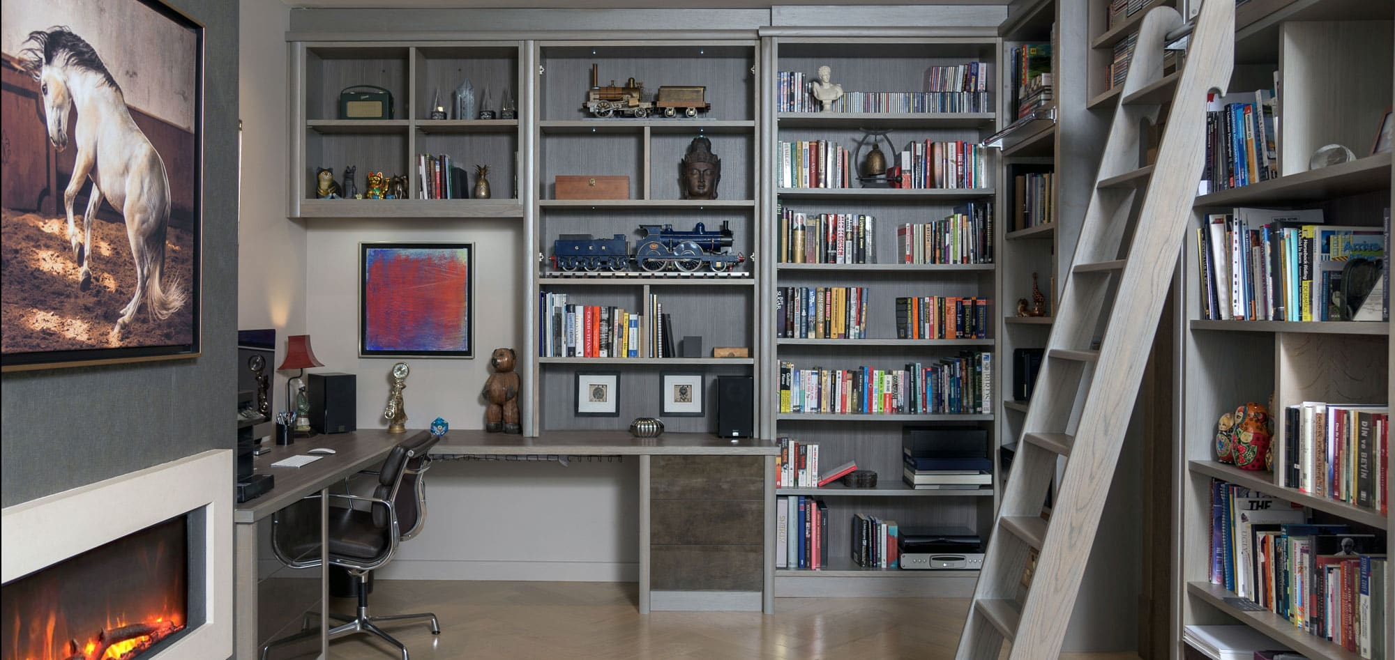 silver-oak-waxed-and-slate-grey-study-library-ladder-display-unit-high-gloss-display-shelving-home-office-fireplace-furniture